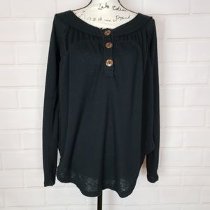 Free People We The Free Henley Black Top Size XS